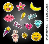 fashion patch badges with lips  ... | Shutterstock . vector #1112620286