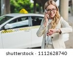 smiling blonde woman in...   Shutterstock . vector #1112628740