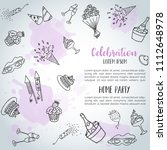 birthday party doodle... | Shutterstock .eps vector #1112648978