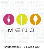 menu with cutlery sign over... | Shutterstock .eps vector #111265130
