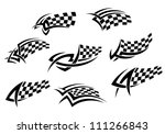 Checkered Flags In Tribal Styl...