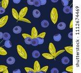 seamless pattern of blueberries ... | Shutterstock .eps vector #1112674469