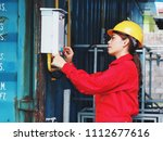 happy young engineering woman... | Shutterstock . vector #1112677616