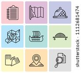 set of 9 simple editable icons... | Shutterstock .eps vector #1112681474