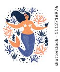 under the sea card with mermaid ... | Shutterstock .eps vector #1112716976