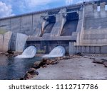 side view of the dam and ... | Shutterstock . vector #1112717786