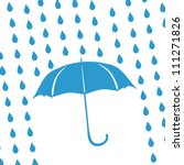 blue umbrella and rain drops | Shutterstock .eps vector #111271826
