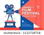 awards film festival banner.... | Shutterstock .eps vector #1112728718