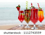 summer drink and sea landscape  | Shutterstock . vector #1112743559