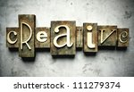 Creative concept, retro vintage letterpress type on grunge background - stock photo