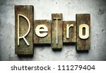 Retro concept, vintage letterpress type on grunge background - stock photo