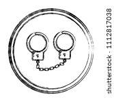 grunge metal handcuffs arrest... | Shutterstock .eps vector #1112817038