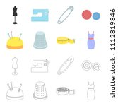 pincushion with pins  thimble ...   Shutterstock .eps vector #1112819846
