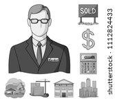 realtor  agency monochrome... | Shutterstock .eps vector #1112824433