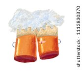 image of two mugs of beer...   Shutterstock . vector #1112830370