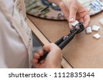 workplace of the mosaic master  ...   Shutterstock . vector #1112835344
