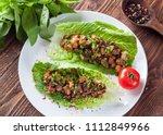 vegetarian lettuce wraps with... | Shutterstock . vector #1112849966