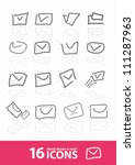 hand drawn e mail icons  vector  | Shutterstock .eps vector #111287963