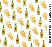 schnapps liquor bottle and beer ... | Shutterstock .eps vector #1112880053