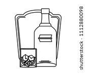 line vodka liquor bottle and...   Shutterstock .eps vector #1112880098