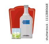 vodka liquor bottle and glass...   Shutterstock .eps vector #1112880668