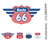 route 66 red and blue vector... | Shutterstock .eps vector #1112885999