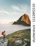 lost in mountains traveler... | Shutterstock . vector #1112892110
