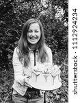 sincere emotion birthday girl... | Shutterstock . vector #1112924234