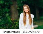 cute girl with long hair... | Shutterstock . vector #1112924270