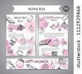 hand drawn halloween brochure... | Shutterstock .eps vector #1112929868