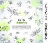 bugs insects hand drawn... | Shutterstock .eps vector #1112929898