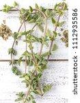 Fresh And Dry Oregano Herbs On...
