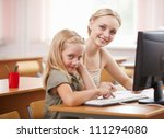 little girl sitting and... | Shutterstock . vector #111294080