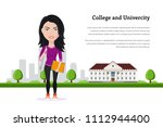 picture of student girl... | Shutterstock .eps vector #1112944400