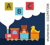 bear teddy and duck in train... | Shutterstock .eps vector #1112947208