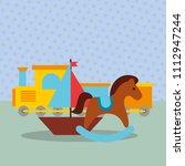 rocking horse train wagon... | Shutterstock .eps vector #1112947244