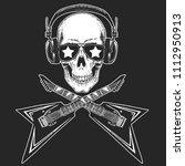 cool rock star skull wearing... | Shutterstock .eps vector #1112950913
