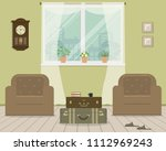green living room in retro...   Shutterstock .eps vector #1112969243