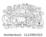 hand drawn cute monsters with... | Shutterstock .eps vector #1112981423