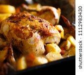 freshly cooked chicken and... | Shutterstock . vector #1112983430