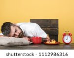 overworked and tired bearded... | Shutterstock . vector #1112986316