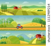 rural landscape with fields and ... | Shutterstock .eps vector #1112989214
