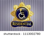 gold shiny badg golden emblem ... | Shutterstock .eps vector #1113002780