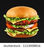 hamburger  3d realistic vector... | Shutterstock .eps vector #1113008816
