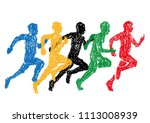 illustration of sprinter drawn... | Shutterstock .eps vector #1113008939