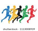 illustration of sprinter drawn... | Shutterstock .eps vector #1113008939