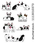 set of cat and dog pairs | Shutterstock .eps vector #1113010373