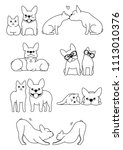 set of cat and dog pairs | Shutterstock .eps vector #1113010376