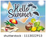 hello summer illustration | Shutterstock . vector #1113022913