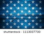 Usa Flag Stars On Vintage Wood...